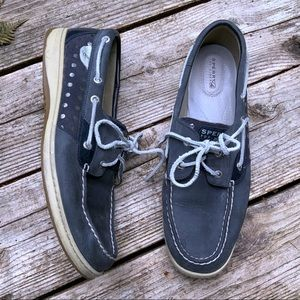 Sperry Top Sider navy blue & silver boat shoes 12